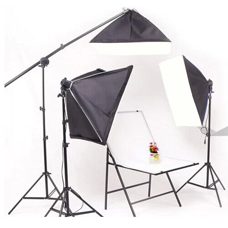 Top Quality 60*60CM Photo Stuido Photography Light 100-240V Continuous Lighting Softbox Stand Kit for 5 Lamps