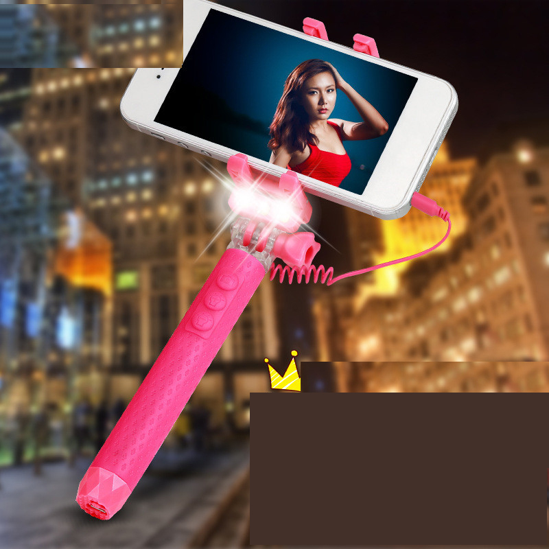 Fashion Portable Wired Selfie Stick for iPhone Android Rk-mini