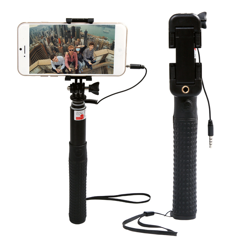 Aluminium Wired Portable Selfie Stick for iPhone Android RK89E