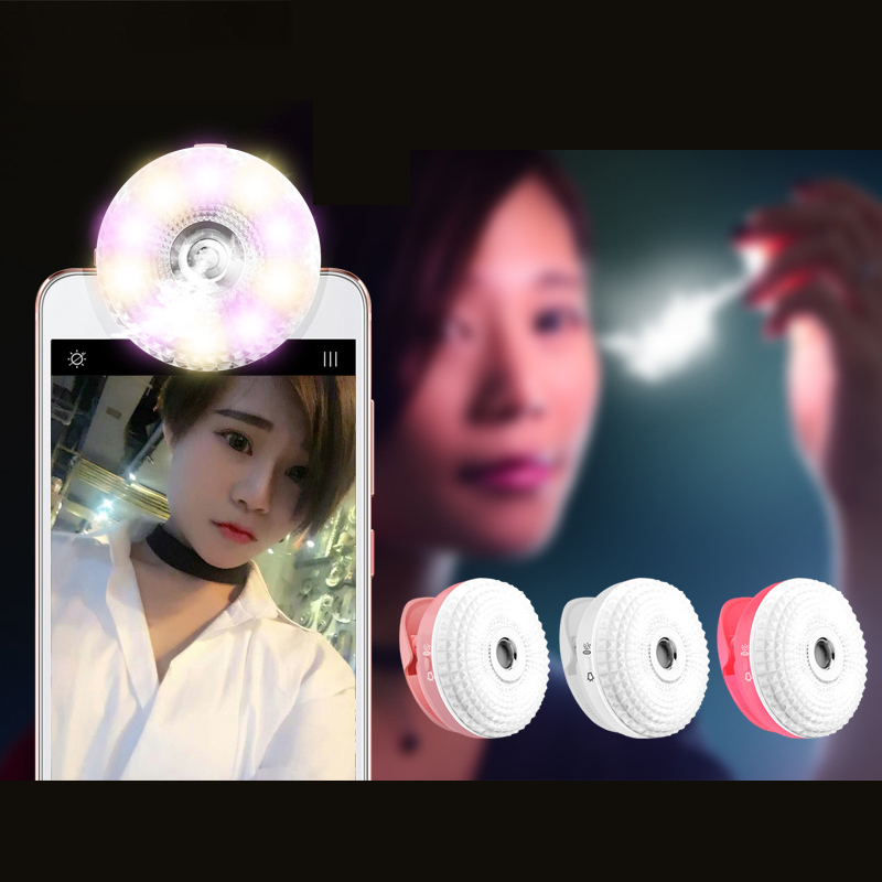 Phone Clip LED Fill Light Selfie Flash Light with Face Moisturizing RK15