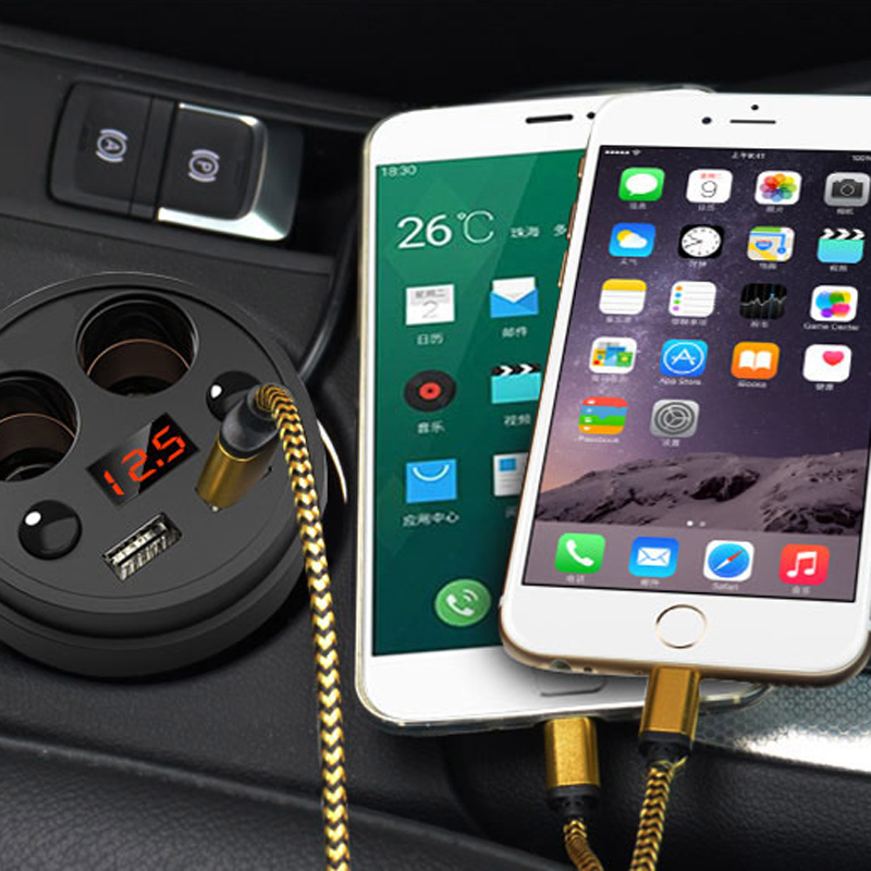 Dual USB Car Charger & Cigarette Lighter Adapter With LED Display Fast Charger Unviersal Portable