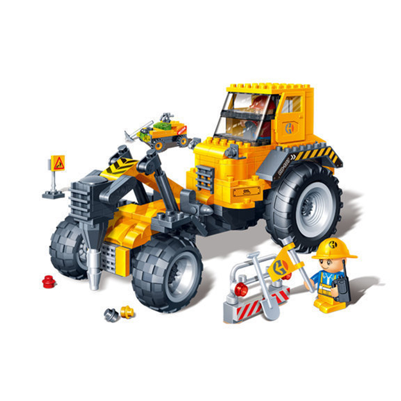 Banbao 8537 DIY Educational Toys City Construction Drilling Machine Pull Back Car Plastic Model Building Block Sets