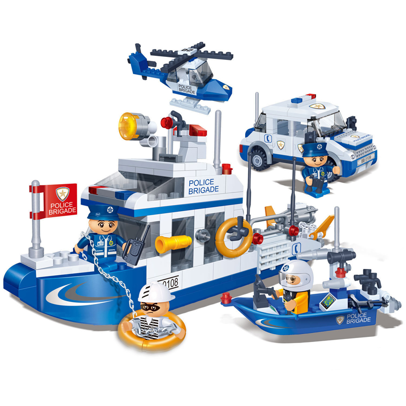 Banbao 8342 Police Coast Guards Ship Building Block Sets Educational Helicopter DIY Bricks Toys