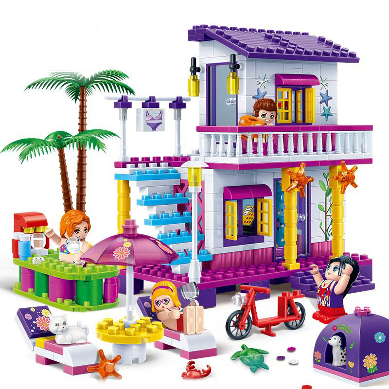 Banbao 6138 Building Blocks Kit Toy City Girls Friends Beach Vacation Homes 3D Educational Model