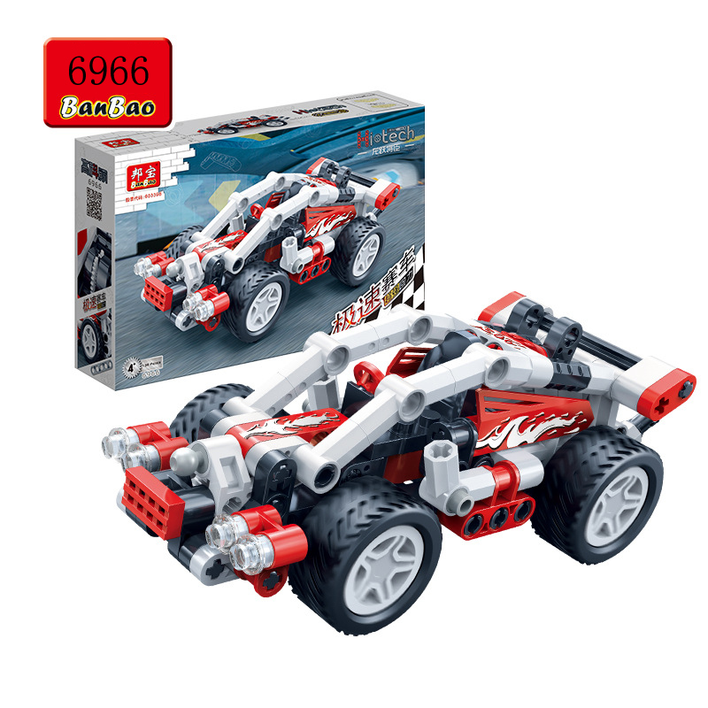 Banbao 6965-6968 Racing Car Model Plastic Building Block Sets Educational DIY Bricks Toys Pull Back Car