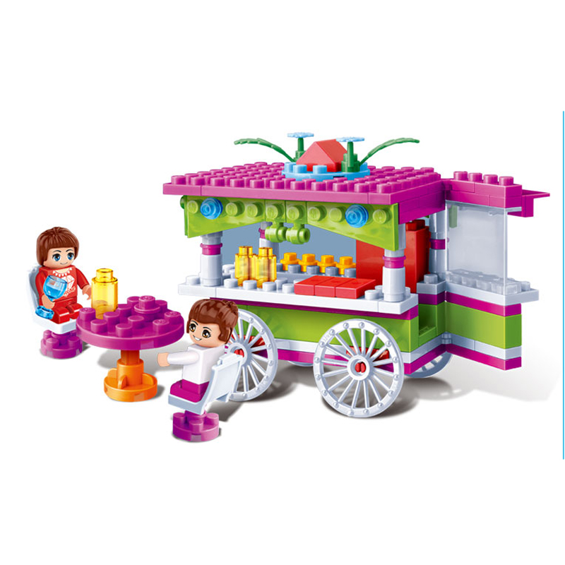 Banbao 6118 Learning & Education Snack Car Blocks Toys for Girls Plastic Building Block Sets Educational DIY Bricks Toys
