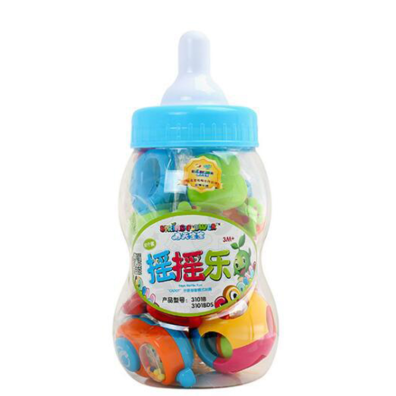 MZ 10pcs/set Cute Baby Educational Toys Baby Bottle Rattles Combination Baby Hand Bell Baby Rattles Set Toy