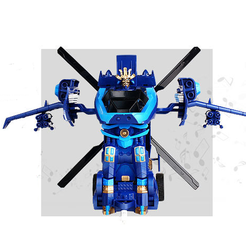 MZ 1:14 2374P Blue Helicopter One Key Deformation RC Robot