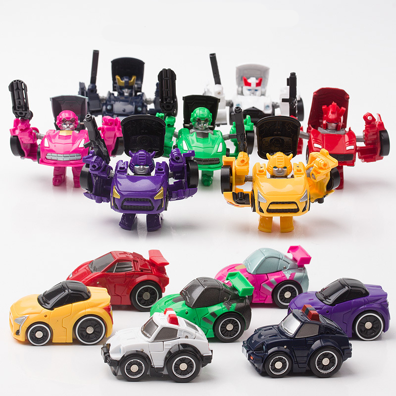 W8028 Mini Transformation Cute Car Robotic Set 4 Style 7 Color Figures Toys