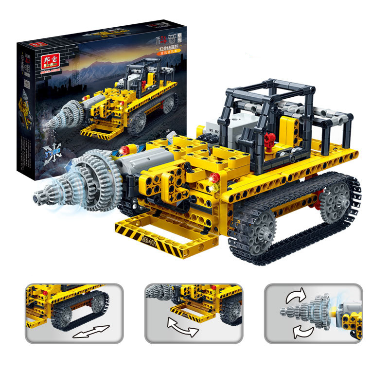 Banbao 6909 Drilling Car Infrared RC Engineering Vehicles Assembled Small Particles Building Blocks