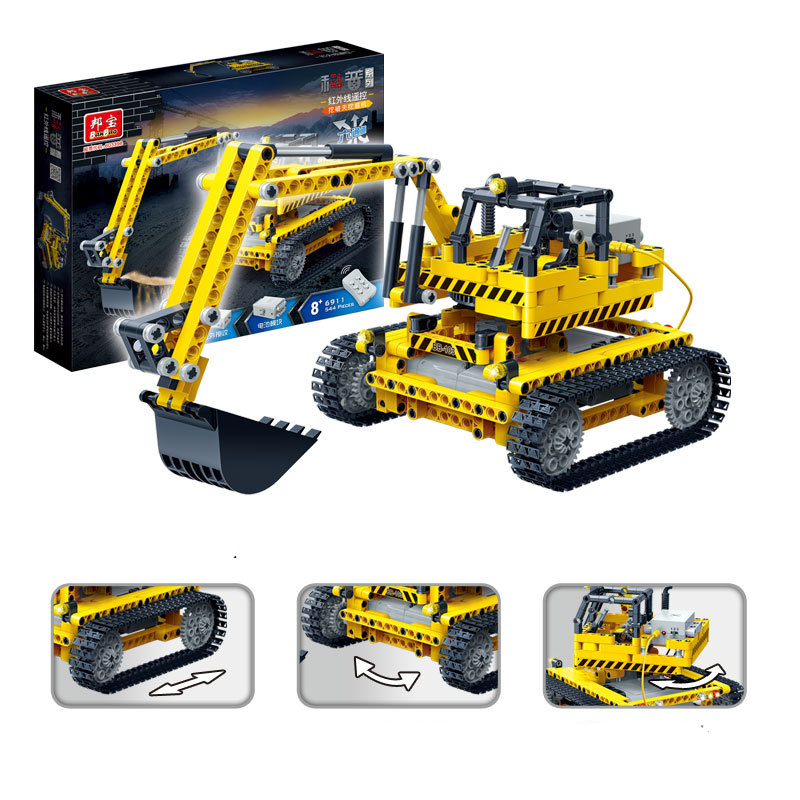 Banbao 6911 Excavator Infrared RC Engineering Vehicles Assembled Small Particles Building Blocks
