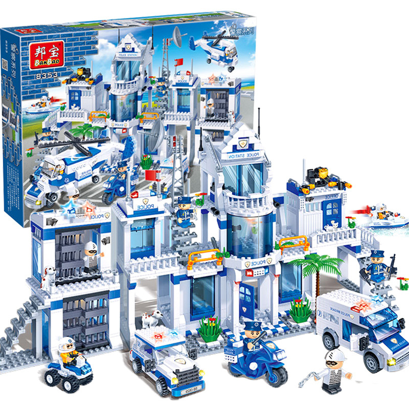 Banbao 8353 Police Scene Helicopter Bricks Classic Building Block For Boys