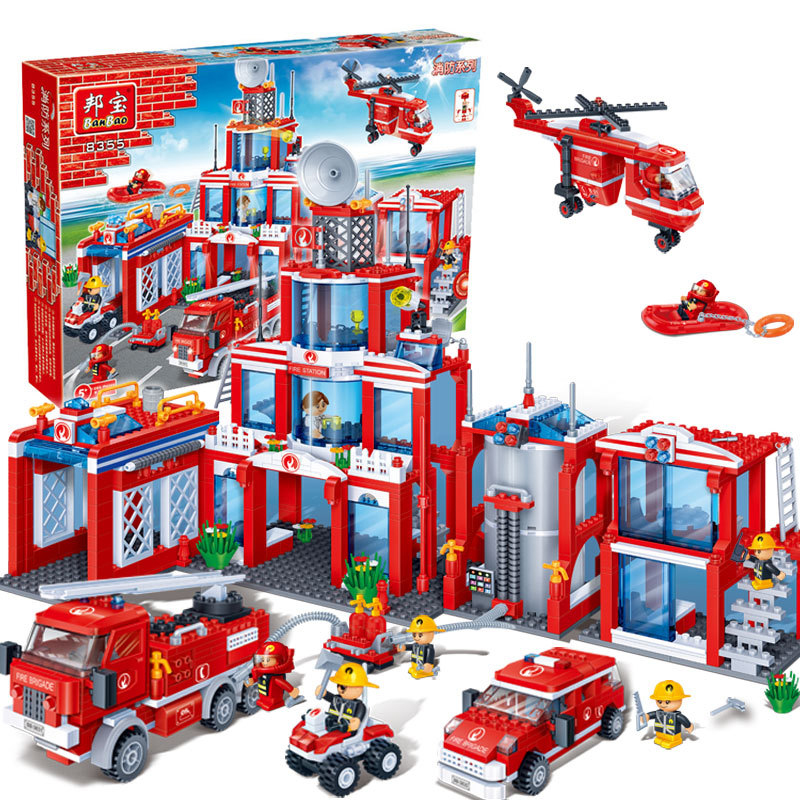 Banbao 8355 Model Building Kits City Fire Station 3D Blocks Educational Model Building Toys