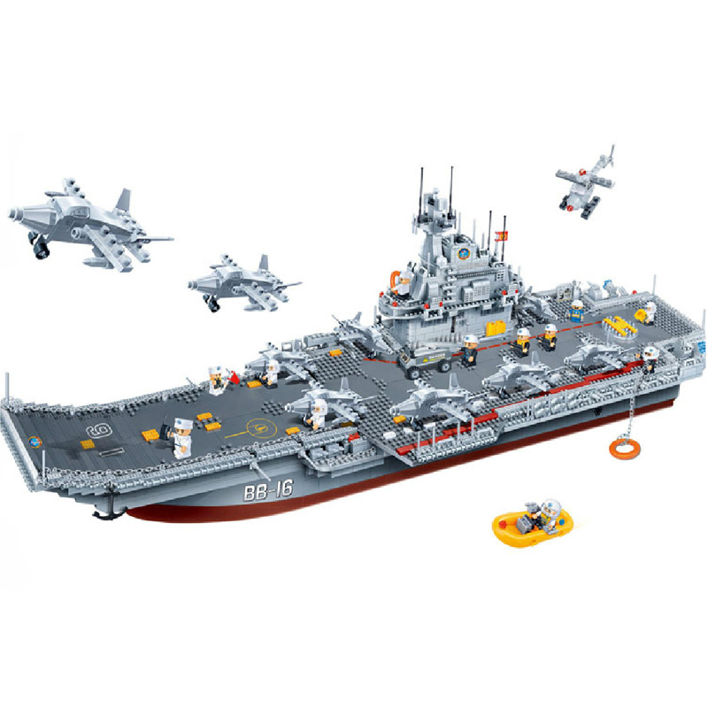 Banbao 8419 Military Series Aircraft Carrier Plastic Building Block Sets Educational DIY Bricks Toys