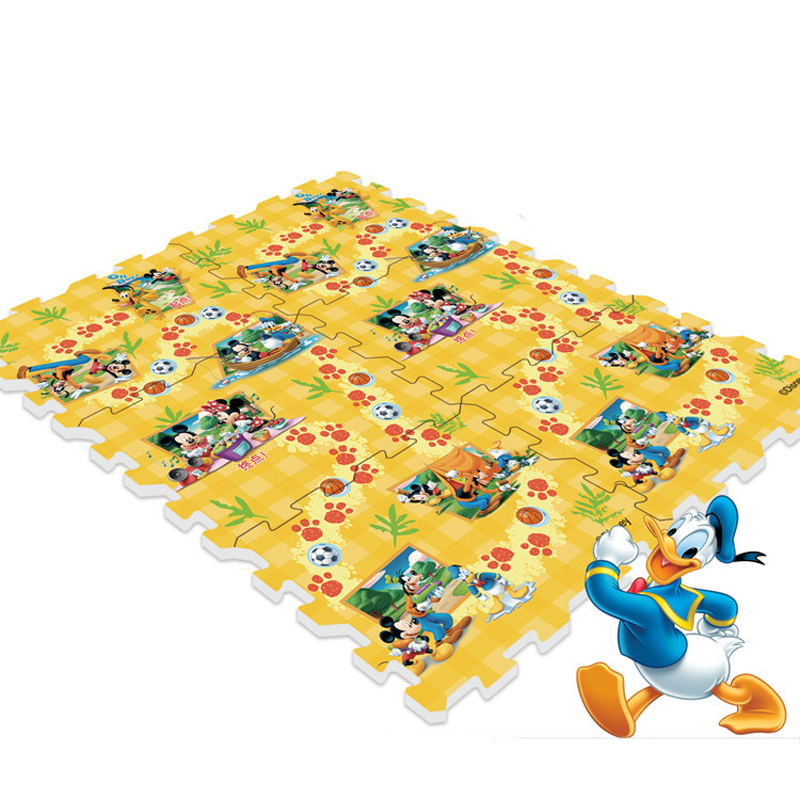 Disney Mickey And Pooh Game And Puzzle Crawling Mat With Fence