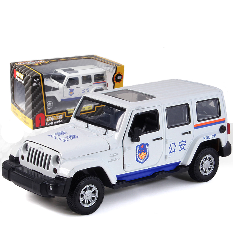 Alloy Wrangler Police Car Model Simulation Off-Road Pull Back Car Toy