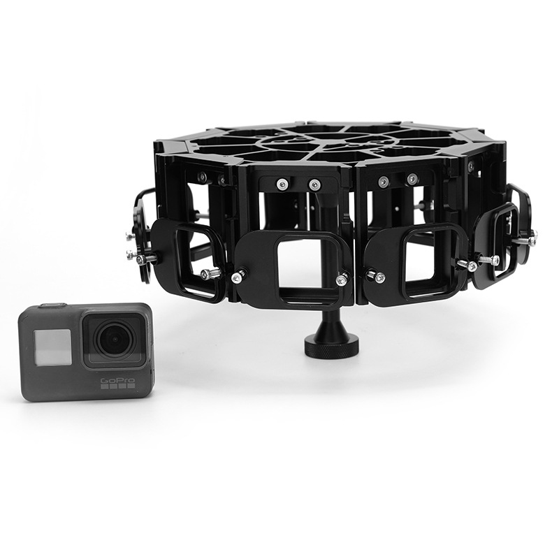 G5F10 GoPro Hero5 360 Degrees VR Panoramic Bracket 10 in 1 Aluminum Alloy Housing Protective Cage