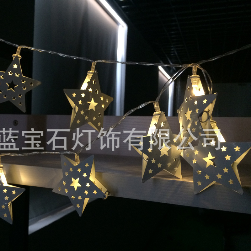 20L Outdoor Star String Lights Five Point Star Shape Christmas Xmas Decoration Wedding Party LED String Lights