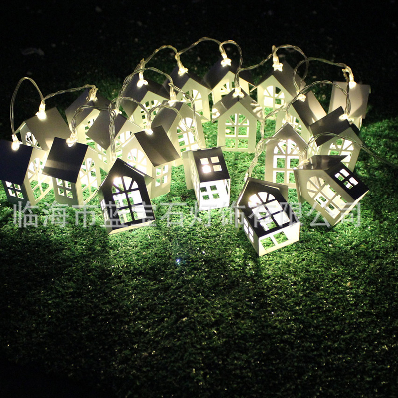 Unique Wonderful Metal String Lantern House Starry Lights For Child'S Home Christmas Tree Bar Festival Decoration