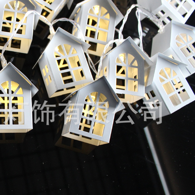 Unique Wonderful Metal String Lantern House Starry Lights For Child\'S Home Christmas Tree Bar Festival Decoration