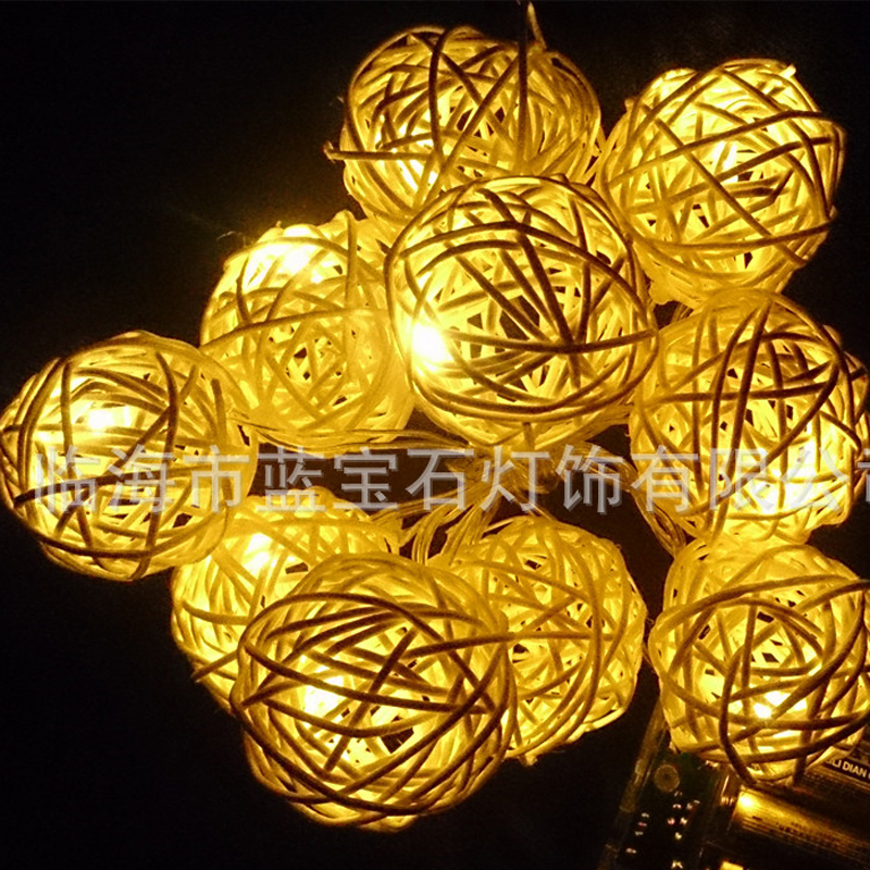 2.2M 20LED White Rattan Ball LED String Lighting Christmas Light For Wedding Party Decoration