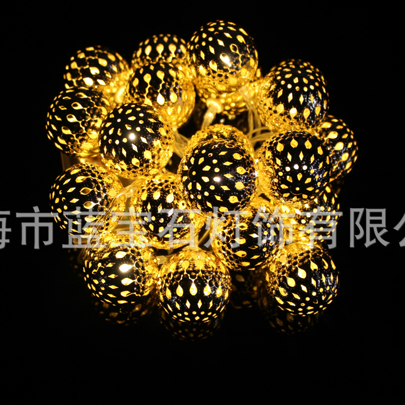 Fashion Metal Round Ball Shape LED String Lights Christmas Party Decorative Lighting Indoor Bedroom Fairy Lights
