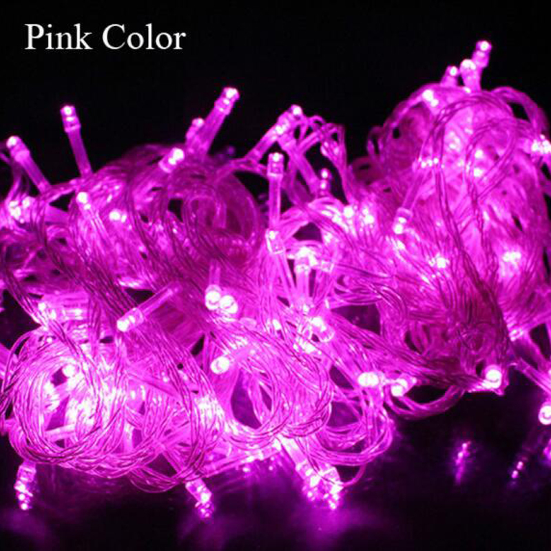 12M 100LED Solar Pink LED Light String Solar Christmas Decoration Light String
