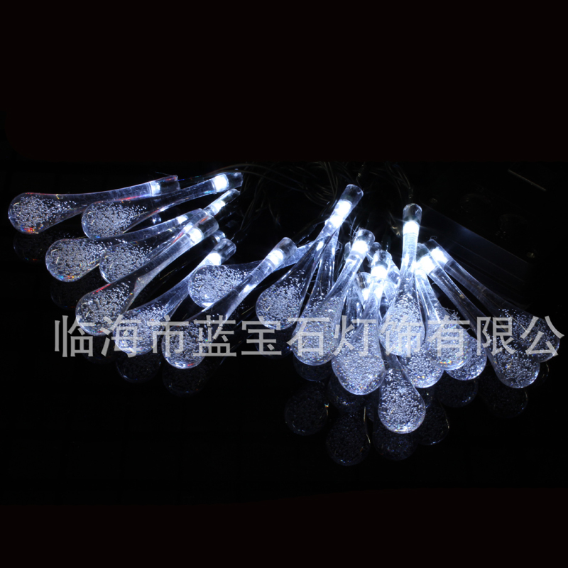 6.5M 30LED Solar String Lights Decorative String Lights Outdoor Water Droplets Christmas Yard Lights