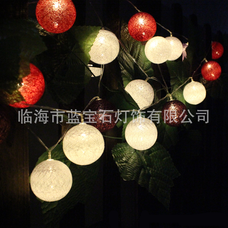 1M 10LED Multicolor Battery Powered Warm White Led Cotton Ball String Light Fairy Light For Indoor Christmas Tree Decorations