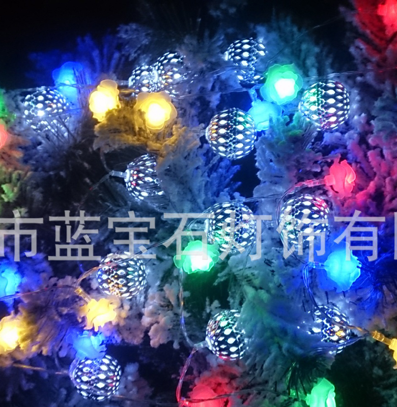 2.25M 20LED Silver Metal Ball String Fairy Light Garden Xmas Party Decor Battery Operated