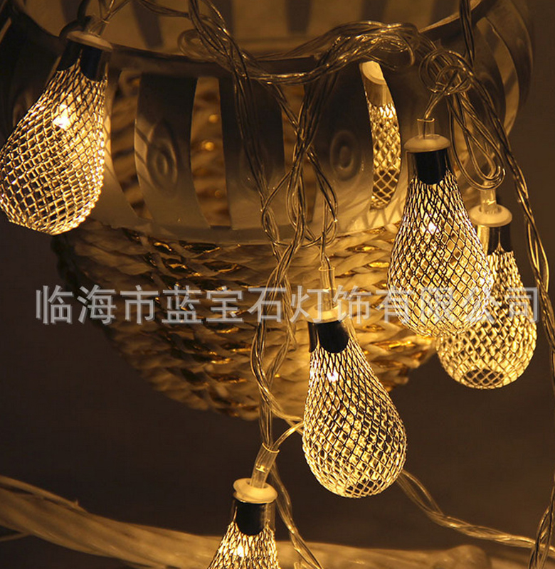 2.2M 20LED Hollow Water Drop Style Metal String Fairy Light Romantic Princess Room Wedding Festival Decorative Strings Battery P