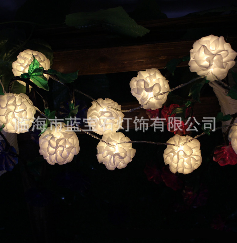 1.2N 10ED Battery String Lights White Silk Flower String Lights Fairy Party Wedding Patio Christmas Decor