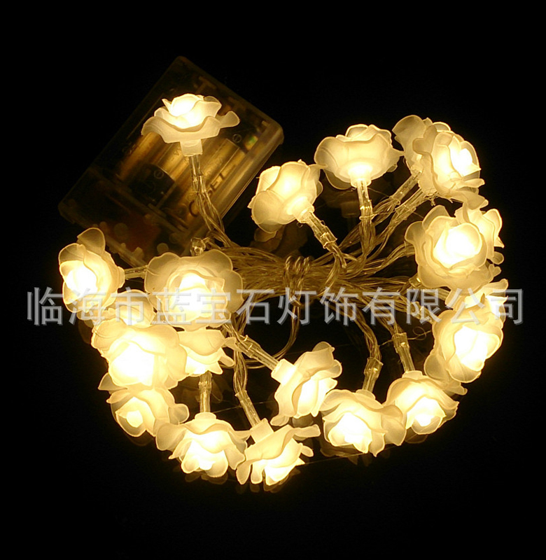 20LED String Lights Rose Flower Holiday Decoration Lamp For Festival Christmas Valentine'S Day Wedding Party