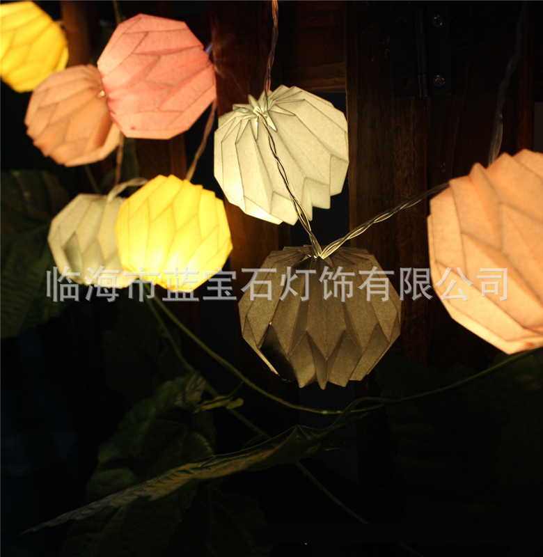 10LED Paper Lantern String Fairy Light Christmas Wedding Party Decor Lamp Battery Operated