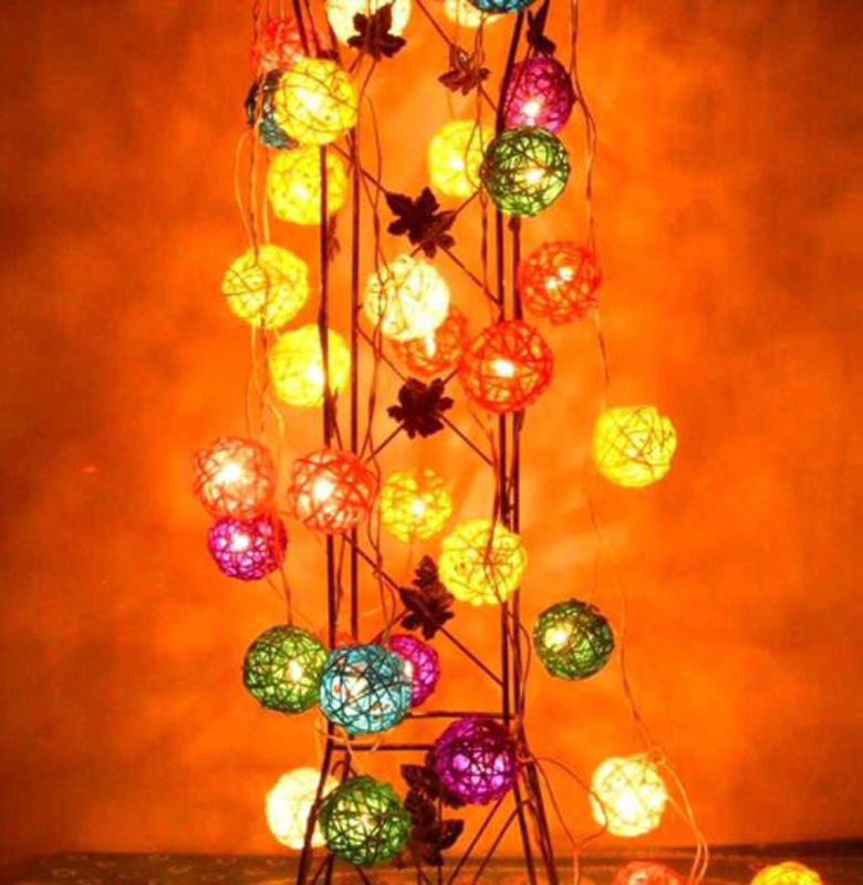 5M 20LED Color Rattan Ball Solar Led String Lights New Year Christmas Decorations Christmas Ornaments For Home