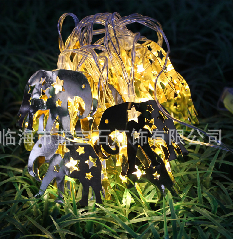 2M 20LED Animal Style Elephant LED String Lights Stainless Steel Material Battery Operated Transparent Plastic Wire Home Fancy L