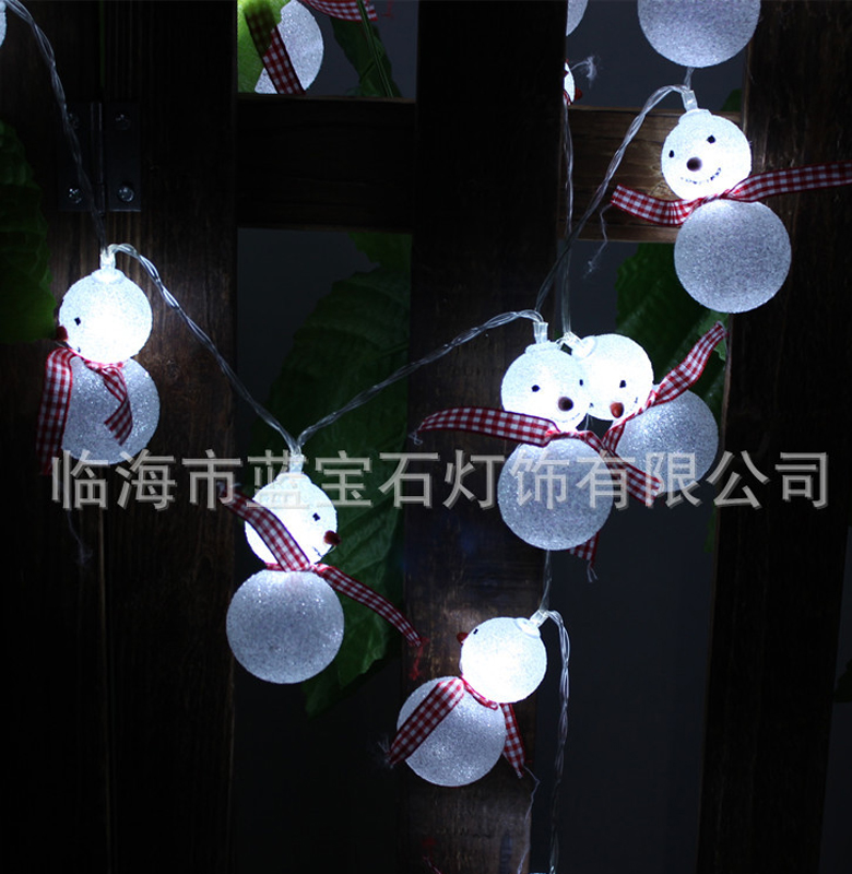 2.2M 20LED Snowman String Lights Fairy Led Christmas Light Home Garden Battery Powered Party 3V Indoor Lights