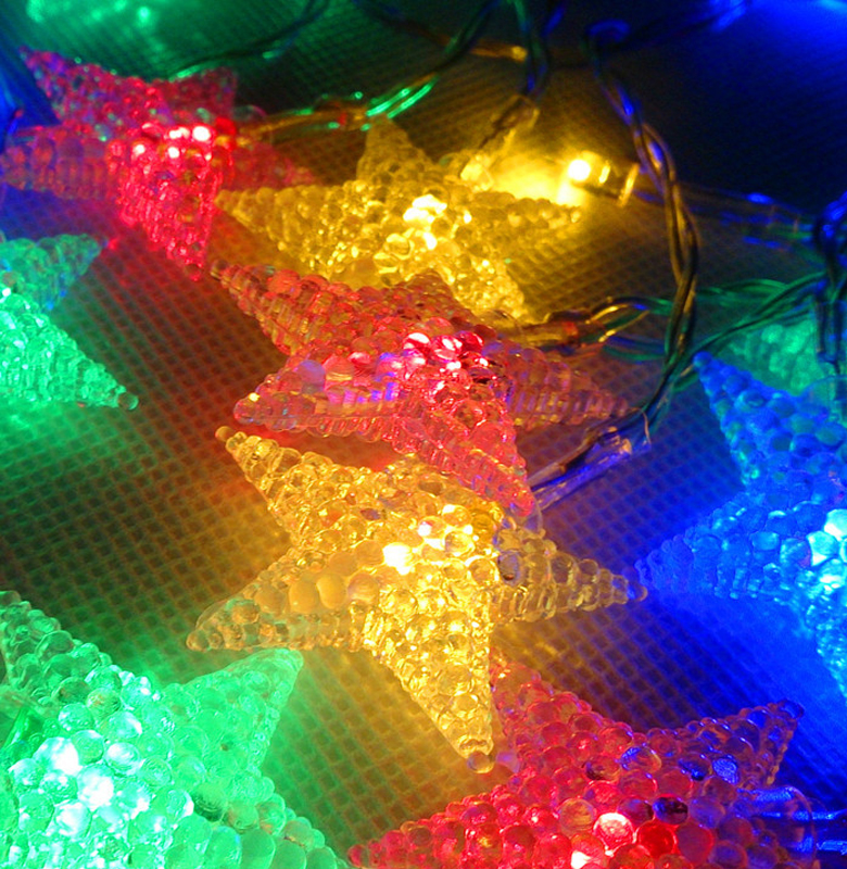 2.2M 20LED Holiday Decoration Colorful Star String Lights Waterproof Lighting