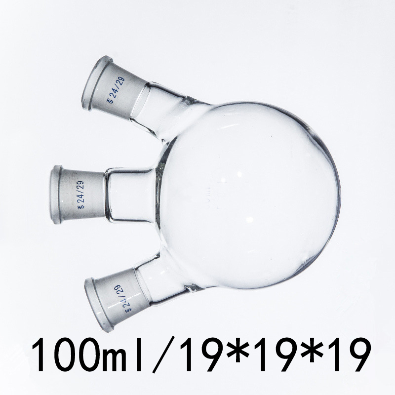 100ml/19*19*19 Transparent Three Mouthfuls Of Thick-Walled Flask Standard Grinding Glass Flasks