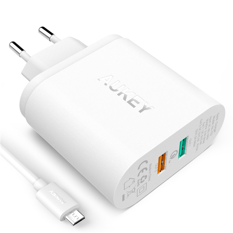 EU Plug Quick Charge QC 2.0 Dual Ports 36W USB Wall Charger with Micro USB Cable for Samsung Sony HTC M8 LG