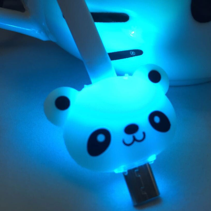Fancy Color Cute Cartoon Character LED Light Micro USB Charger Data Sync Cable Flat Noodle for IPhone5/6