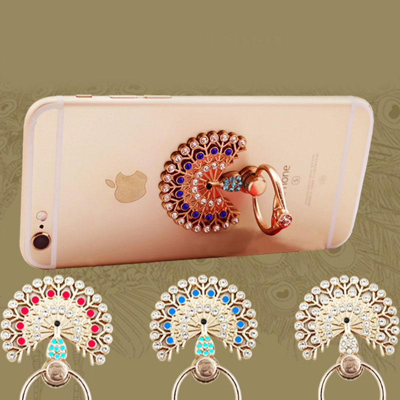 Hot New TPU flower Ring Peacock Diamond Case Metal Rotated Finger Stand Holder Cover
