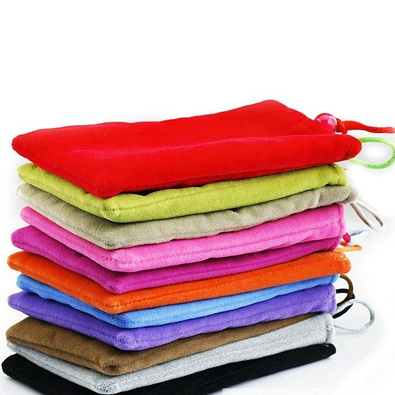 Candy Color Soft Sleeve Flannel Mobile Phone Power Bank Protection Double Bag for Ipad