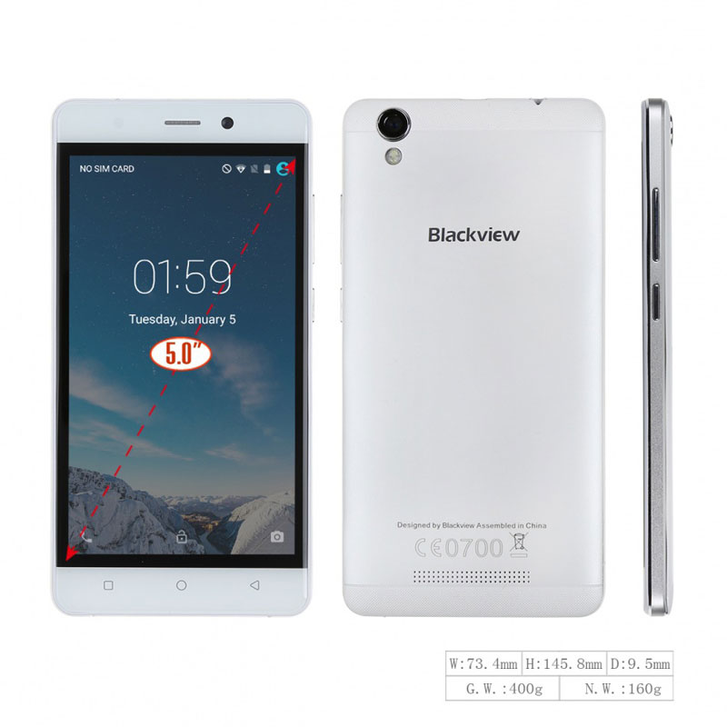 "Blackview A8 5"" 1G RAM 8G ROM MTK6580A Quad Core Mobile Phone Android 5.1"