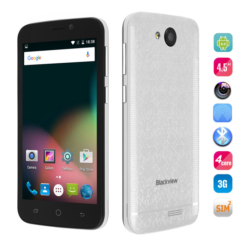 "Blackview A5 4.5"" 1G RAM 8G ROM MTK6580 Quad Core Mobile Phone Android 6.0"