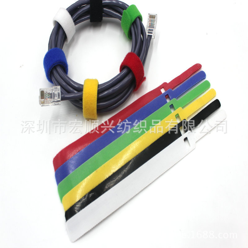 wholesale T-shaped magic hook strap wire tie with pole nylon velcro strap