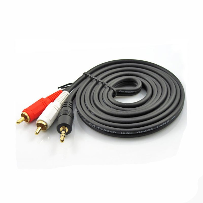 High Quality 3.5mm to 2 RCA Audio Cable Adapter Male to Male Cabel for iPod Mp3 Mp4 Player Mobile Phone