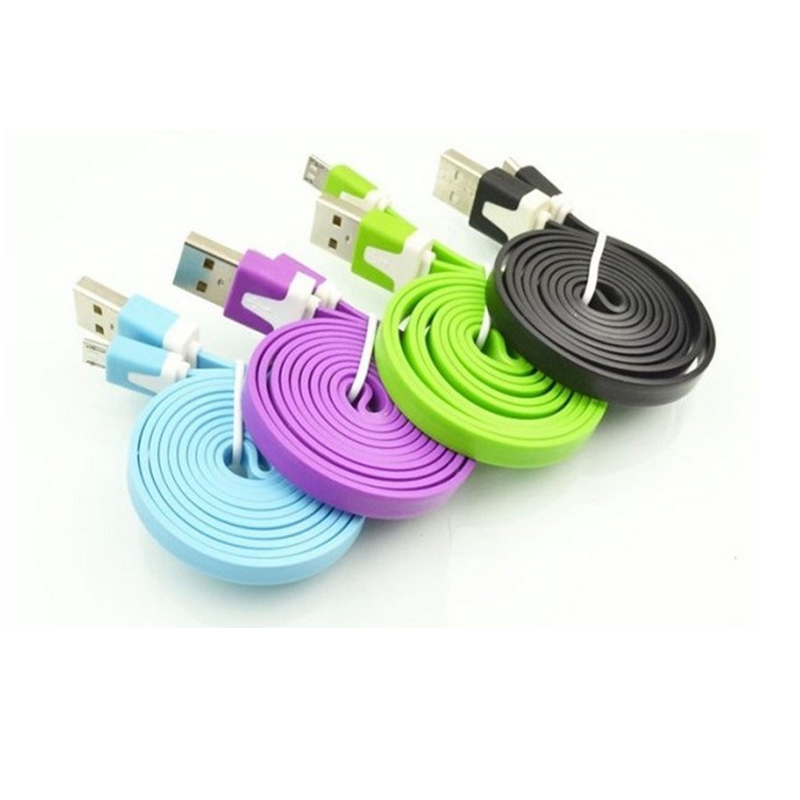 NEW 1PCS 3M V8 Flat Noodle Micro USB Charge Sync Data Cable For Samsung Galaxy for Sony