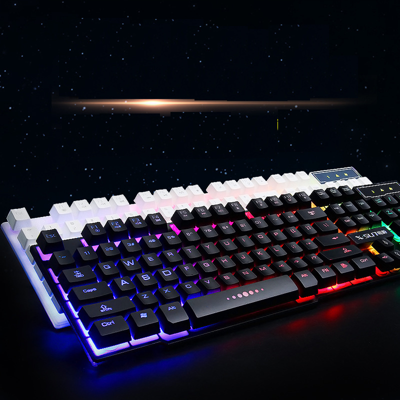 Rainbow Luminous Wired Keyboards for Desktop Computer XK6100