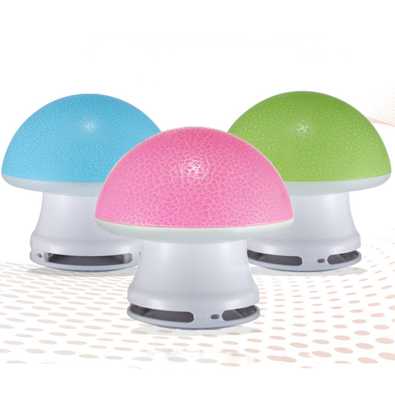 Cute Mushroom Design Luminous Color Mini USB Stereo Speaker Subwoofer For Laptop